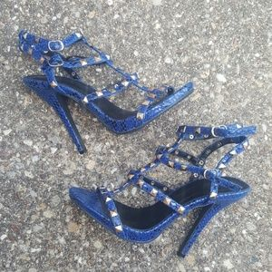 Wild Diva Lounge Strappy Heels Blue Reptile Studs